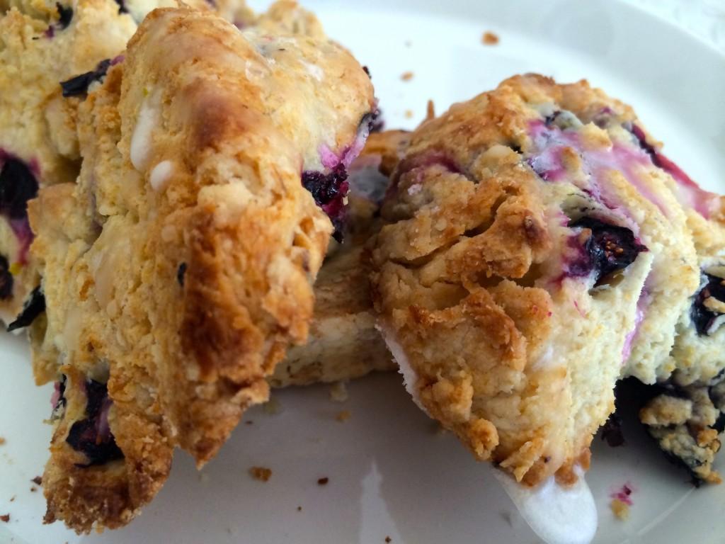Blueberry scones with a lime sugar glaze