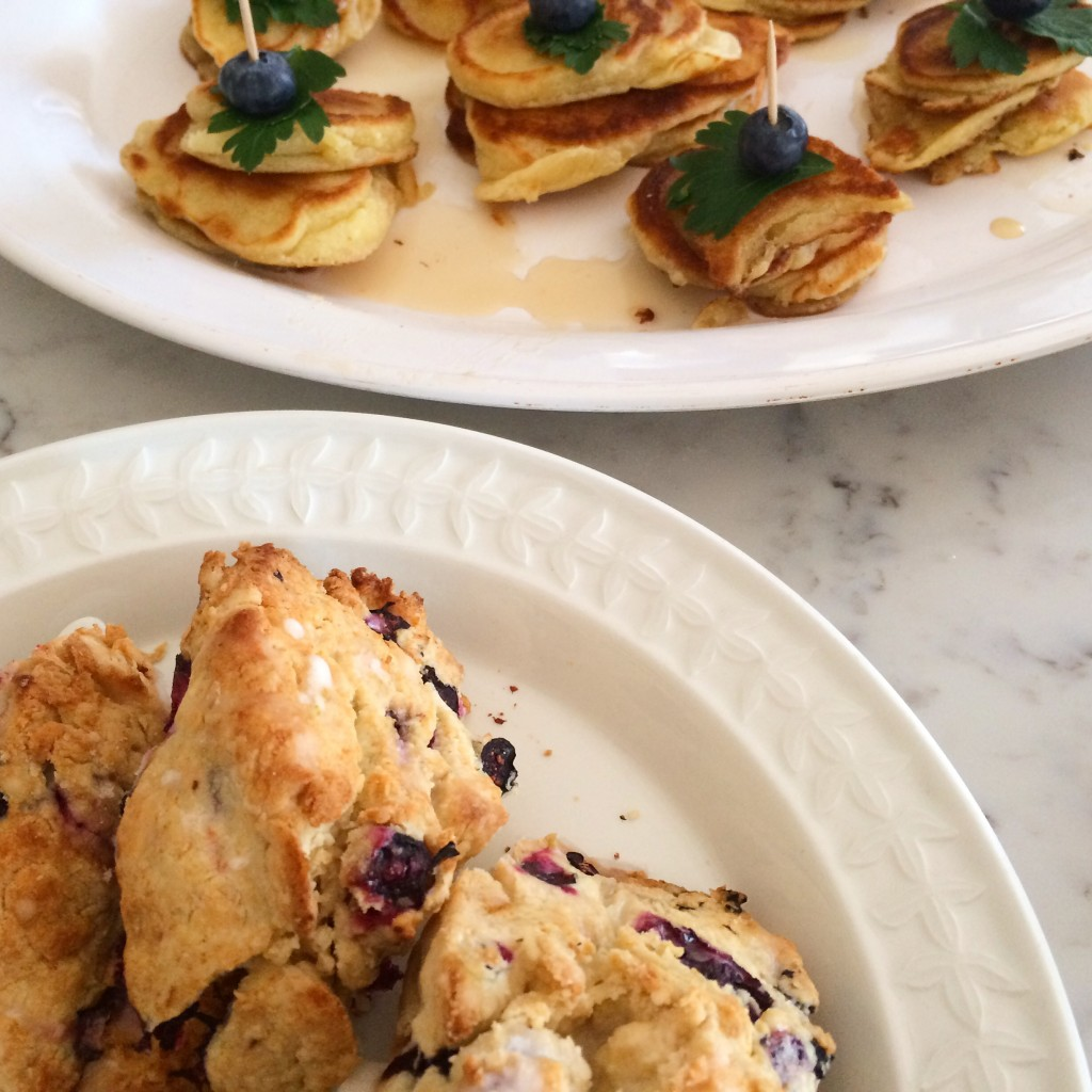 Blueberry scones and silver dollar pancakes